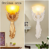 American country Angel wall lamp living room bedroom bar aisle background wall European style retro wall resin wall lamp