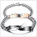 "Promotion Sale Lovers Couples Jewelry Black/Rose Gold Stainless Steel Silver Curb Chain Bracelet Bangle Engraved ""Love""CZ Inlaid"