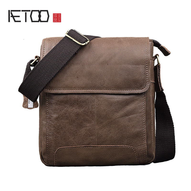 AETOO New retro cowhide men bag shoulder bag leisure matte leather postman handmade leather men's Messenger bag aetoo 2017 new 100% cow leather shoulder bag retro vertical paragraph square bag new leather leisure travel messenger bag women