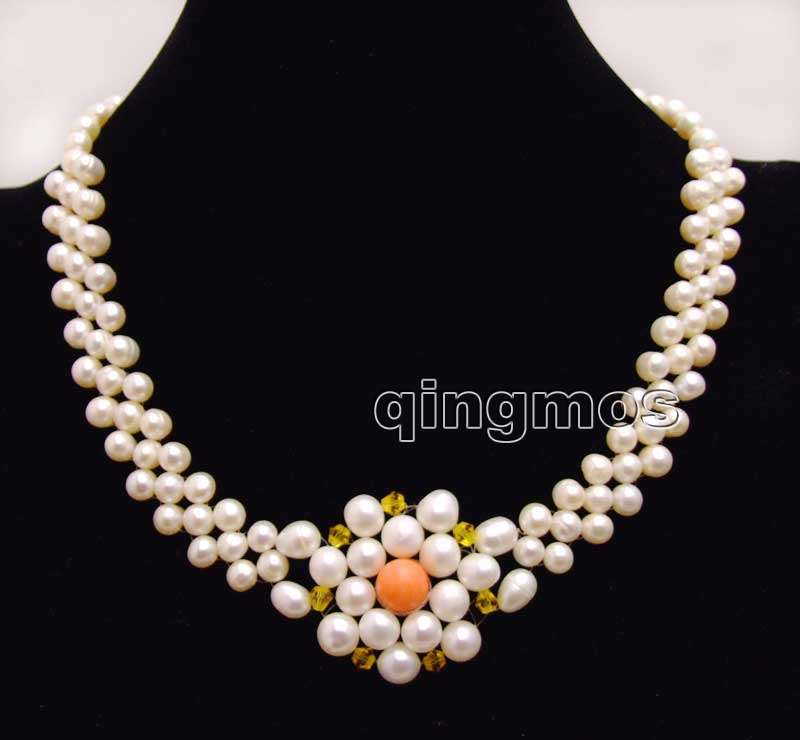 b1b325e98b 6-7mm White Round Natural FW pearl and 9-10mm Pink Coral handwork Weaving  17   3 strands Necklace-nec6187 Wholesale retail free