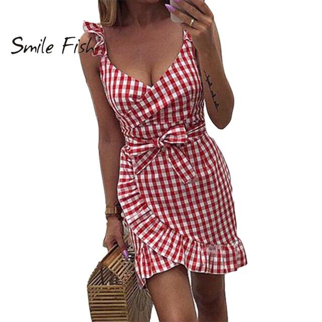 2019 nuevo verano rojo Plaid vestido Vintage playa Boho vestido Streetwear volantes Spaghetti Strap cuello en V Sexy fiesta mujeres vestido M0476