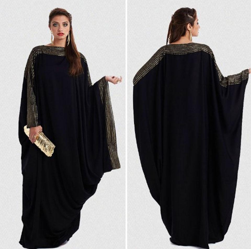 Dubai muslim abaya dress women's black bat sleeve ramadan islamic clothing prayer turkey arab elegant loose kaftan dress