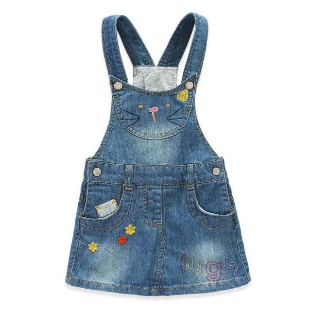 2016 Spring Baby Girls Denim Sundress Suspender dress Kids Cute Cat Embroidery Dress Sun