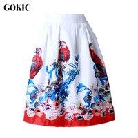 Owlprincess 2016 Vintage Elegant Audrey Hepburn Style Women High Waist Knee Length Tutu Skirt Peacock Pattern