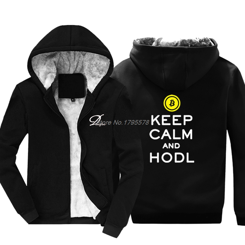 Bitcoin Keep Calm And Hodl Crypto Currency Cool Sweatshirts For Men Keep Warm Thicken Cotton Hoodie Jackets Tops 1