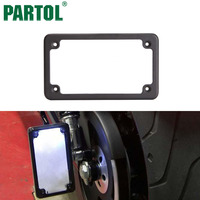 Partol Motorcycle Rear License Plate Frame Tag Fastener Deluxe Black Chrome Steel Metal For Motor Bike