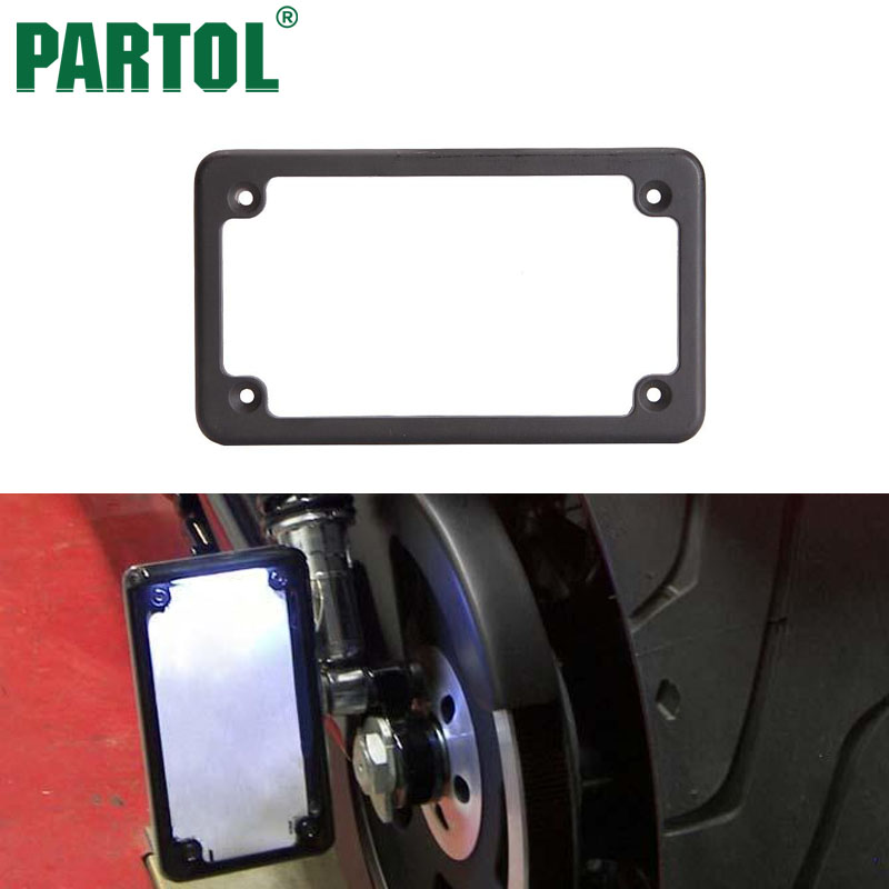 Partol Motorcycle Rear License Plate Frame Tag Fastener Deluxe Black Chrome Steel Metal For Motor Bike Scooter Chopper Honda