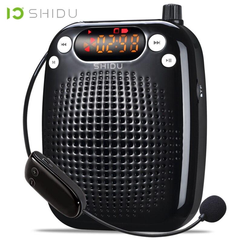 SHIDU UHF Lautsprecher Áudio Mini Speaker Amplificador de Voz Portátil Sem Fio USB Para O Professor Tourrist Guia Instrutores de Ioga S611