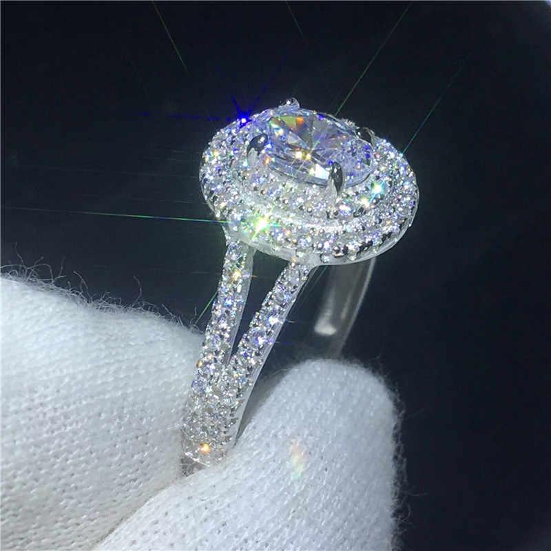 Vecalon романтическое Настоящее однотонное 925 пробы Серебряное кольцо овальной огранки 1ct Sona 5A Циркон Cz Обручальное кольцо кольца для женщин подарок