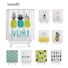 Sweetenlife Waterproof Shower Curtain Fabric Polyester Creative Bath  Curtains Printed Pineapple Curtains For Bathroom 180*