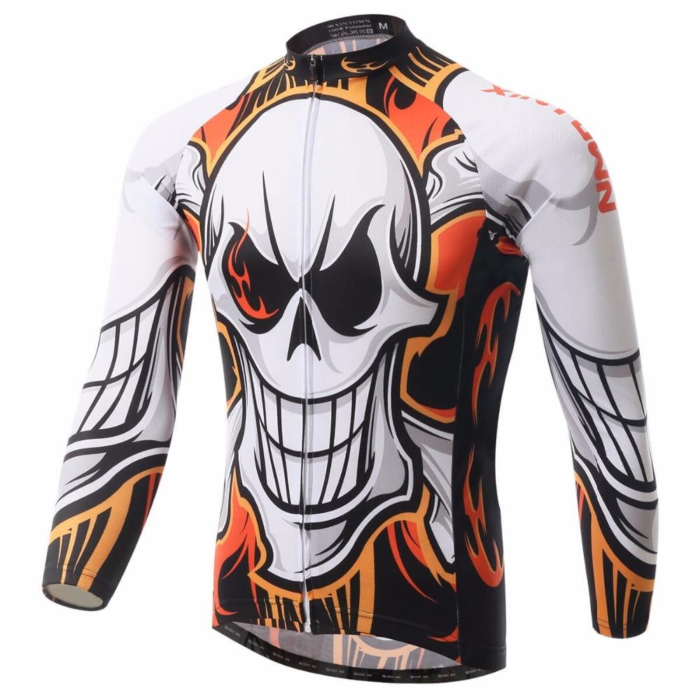 XINTOWN Pro Bike Long Jersey MTB Team Cycling Clothing Skull Running Riding Bicycle Top Wear Men