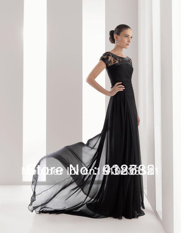 Robe de soirée 2018 nouveau à la mode noir long perles sexy formel soirée élégante robe livraison gratuite