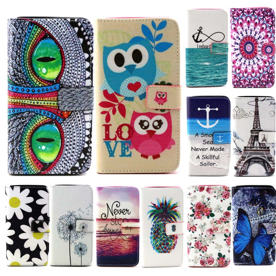 High Quality Luxury Cute font b Cartoon b font Painting PU Leather Phone Case For Alcatel
