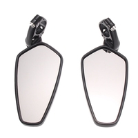 One Pair Universal Black Motorcycle Billet Aluminum Bar End Side 180 Degree Adjustability Rearview Mirrors