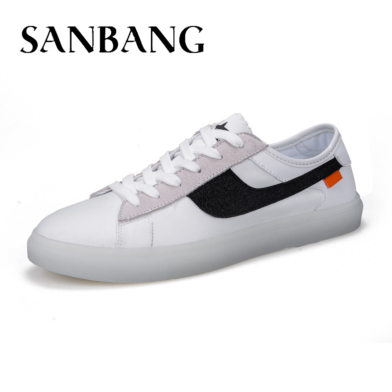 SANBANG Men Shoe New Fashion Casual Students White Board Shoes Men Trend Of Breathable Lightweight Low-Top Canvas Shoes Lx5