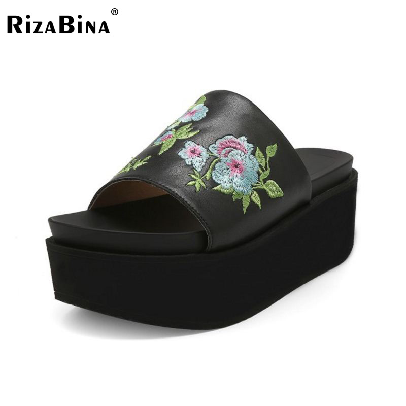 RizaBina Simple Women Real Genuine Leather High Wedges Sandals Flower Open Toe Platform Slipper Summer Trifle Shoes Size 34-39 mudibear women sandals pu leather flat sandals low wedges summer shoes women open toe platform sandals women casual shoes