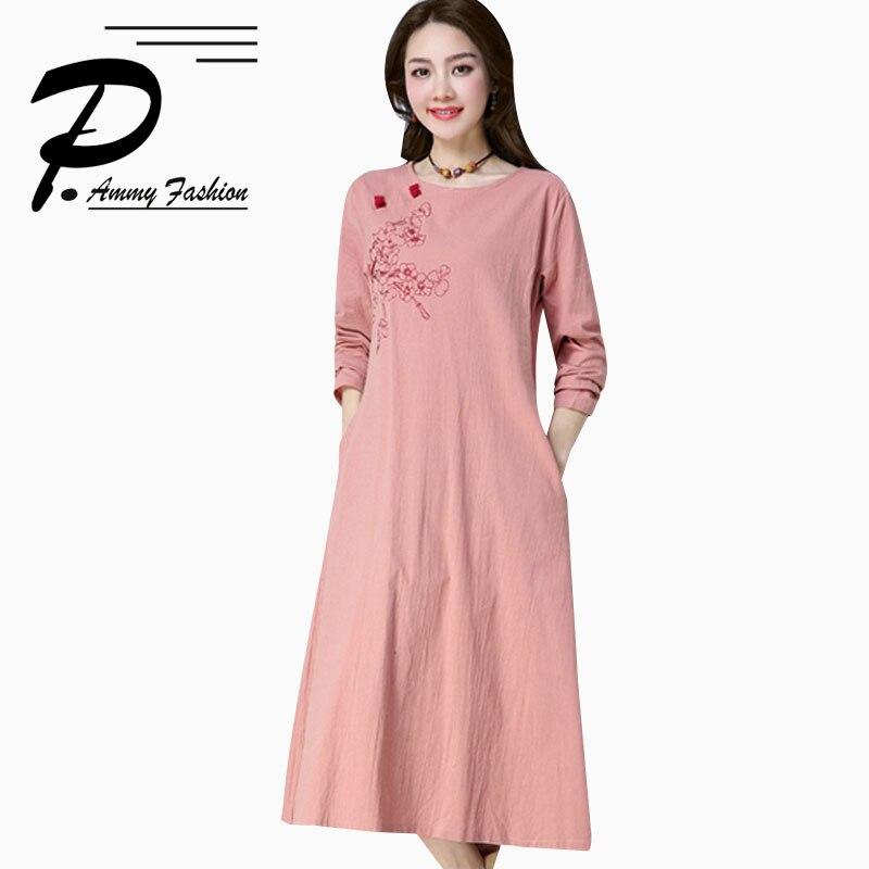 Grande taille nouveau o-cou broderie coton et lin tenue décontractée femmes printemps mode à manches longues couleur unie lâche tunique robe