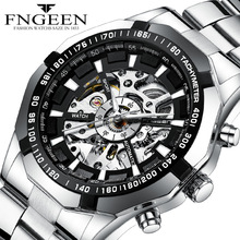 2019 New Design Hollow Engraving Black Silver Case Steel Skeleton Automatic Mech