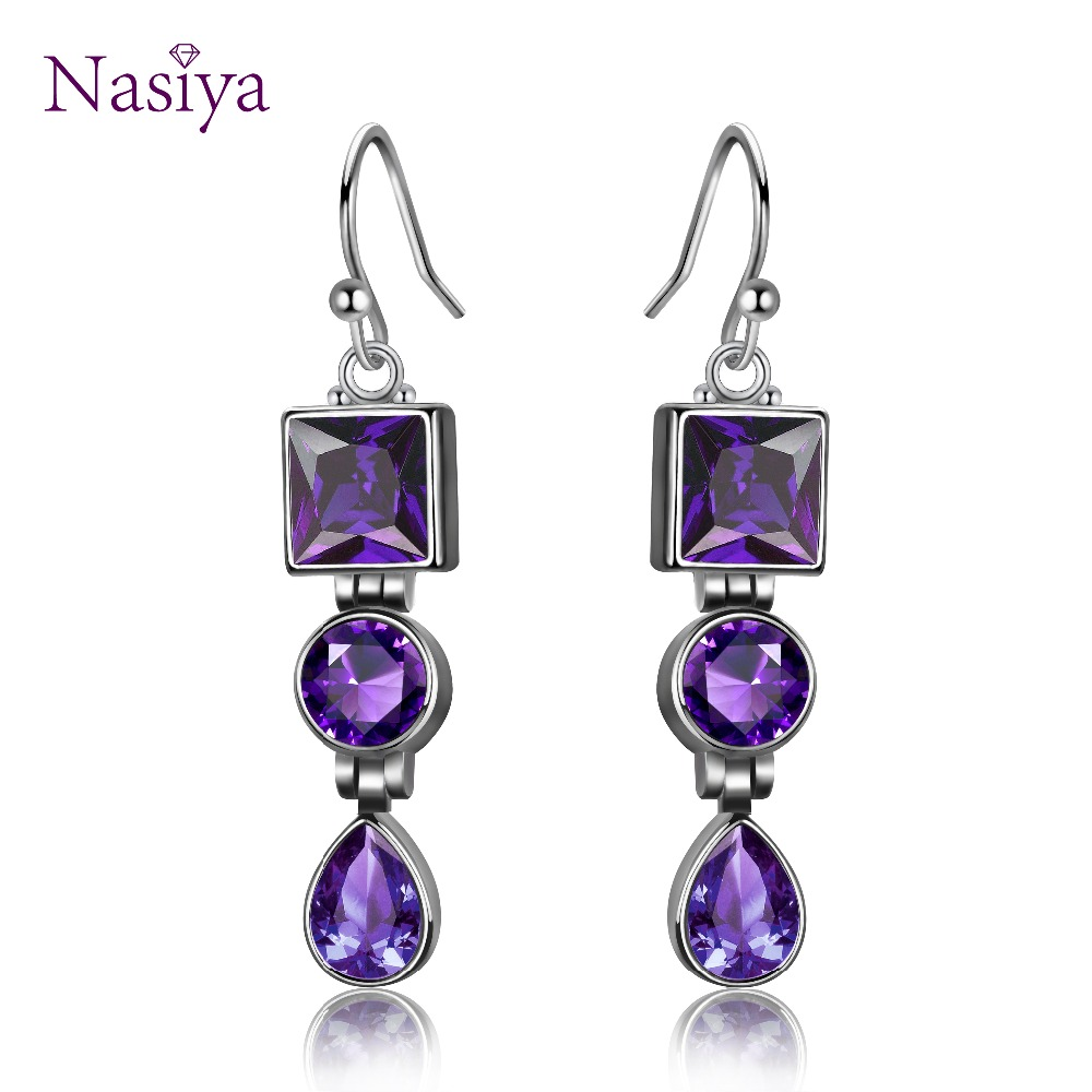 Luxury Hyperbole Womens Created Amethyst Drop Earrings Fashion 925 Silver Dangle Earrings Party Anniversary Gifts WholesaleLuxury Hyperbole Womens Created Amethyst Drop Earrings Fashion 925 Silver Dangle Earrings Party Anniversary Gifts Wholesale
