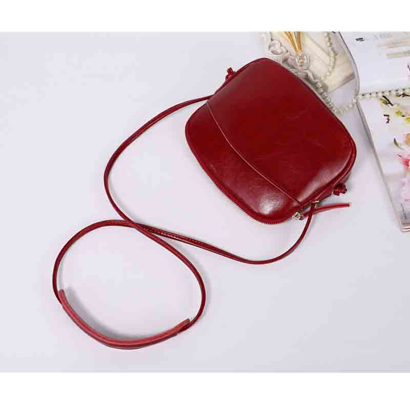 New Fashion Womens Messenger Bags Real Leather Small Portable Shoulder Bags Candy Colors Phone Purse Casual Girls Sac