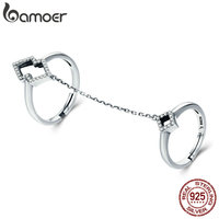 BAMOER 100 Authentic 925 Sterling Silver Anel Double Layer Clear CZ Geometric Square Finger Rings Female