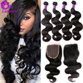 Brazilian Virgin Hair Body Wave 4Bundles With Closure Cheap Human Hair With Closure 7A Brazilian Hair Weave Bundles With Closure