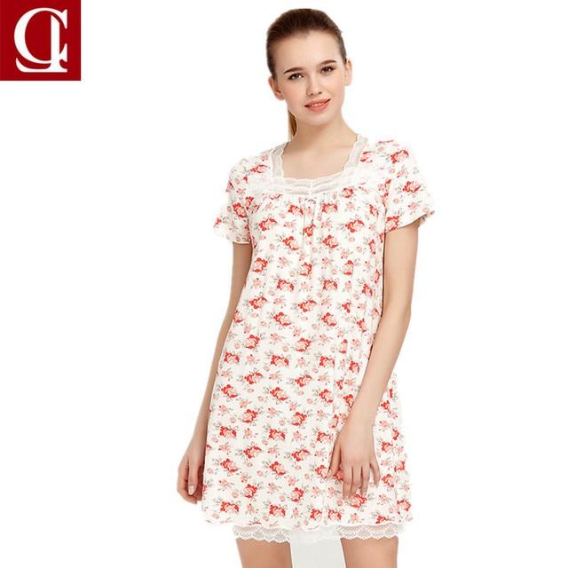 552e486445ea Women Nightwear Night Dress Lady Cotton Nightgown Female Short sleeve Lace  Nighty Sexy Sleepwear Sleep Sleepshirt
