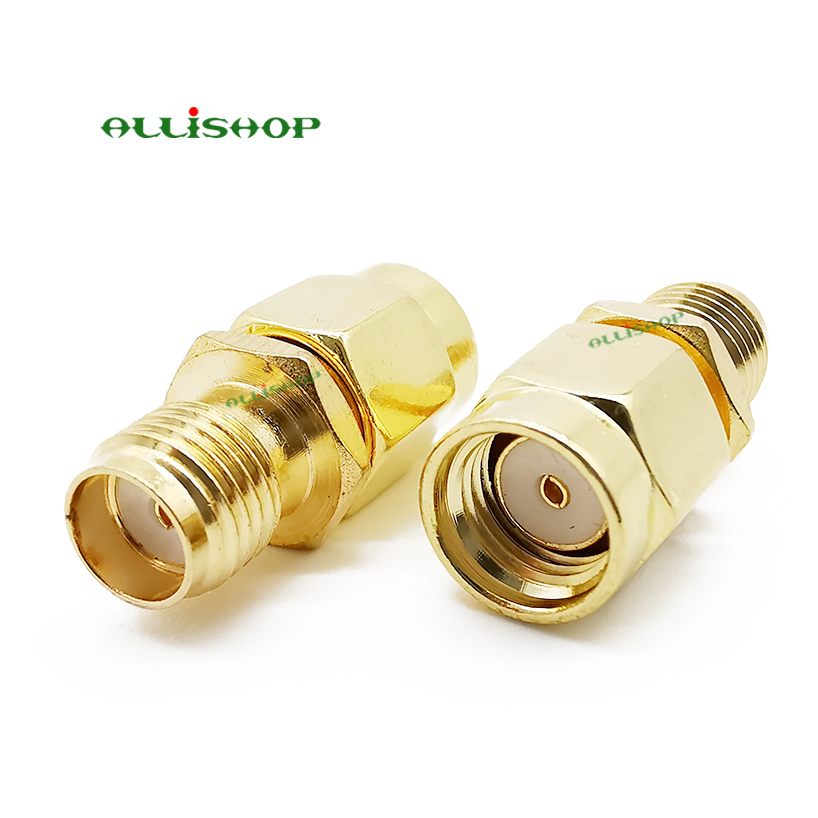 ALLISHOP RF RP-SMA Male Plug To SMA Female Jack RF Coaxial Coax Adapter Convertor Connector Straight Goldplated #Rocheuk#