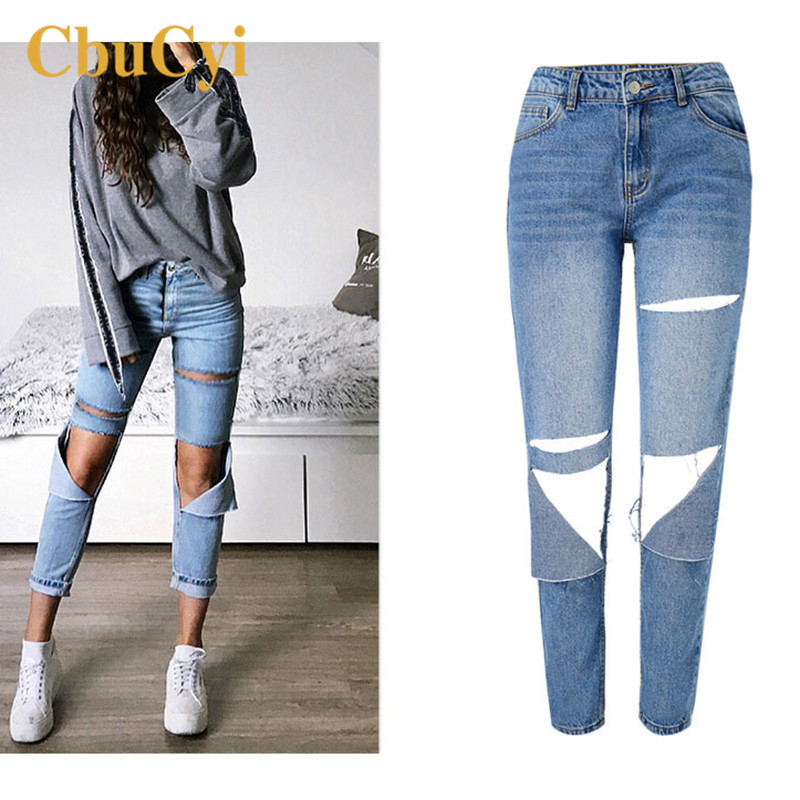 Women's High Waist Jeans Pants Large Size Loose Straight Jeans Trousers Women Knee Hole Washed Denim Pants Streetwear Trousers