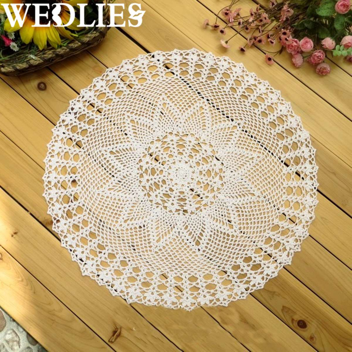 Vintage Cotton Round Hand Crocheted Lace Doily Placemat Mat Home ...