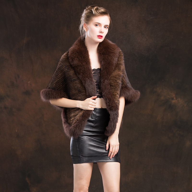 ZY87004 2 2016 Hot Sale Women s Genuine Knitted Mink Fur Shawls With Fox Fur Collar