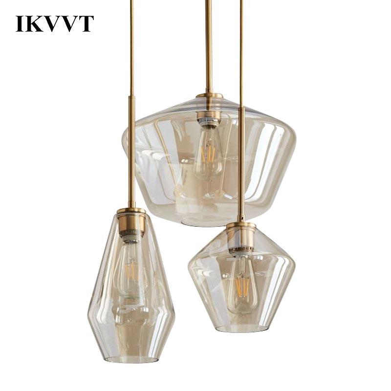 IKVVT moderne minimalisme doré verre pendentif lumières E27 Edison ampoule salle à manger cuisine décor à la maison planétarium lampe