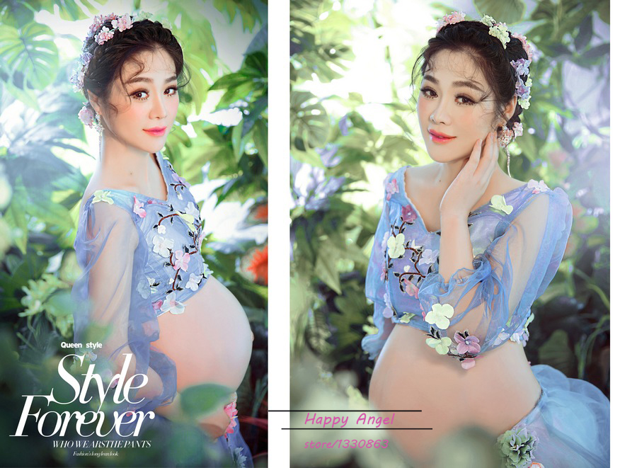 Maternity Photography Props Long Lace Colorful Flower Magic Fairy Romantic Cute Dress Pregnant Fancy Photo Shoot free shipping стоимость