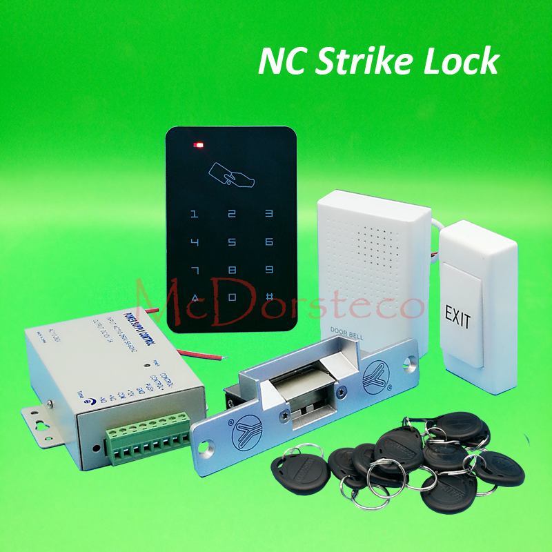 DIY 125khz Rfid Door Access Control Kit Set With Fail Safe NC Electric Strike Lock Card Full Access Control System diy waterproof 125khz rfid door access control kit set electric strike lock 10 rfid card outdoor touch keypad access control