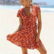 2019 new summer A-line dress V-neck sexy casual fashion style red floral