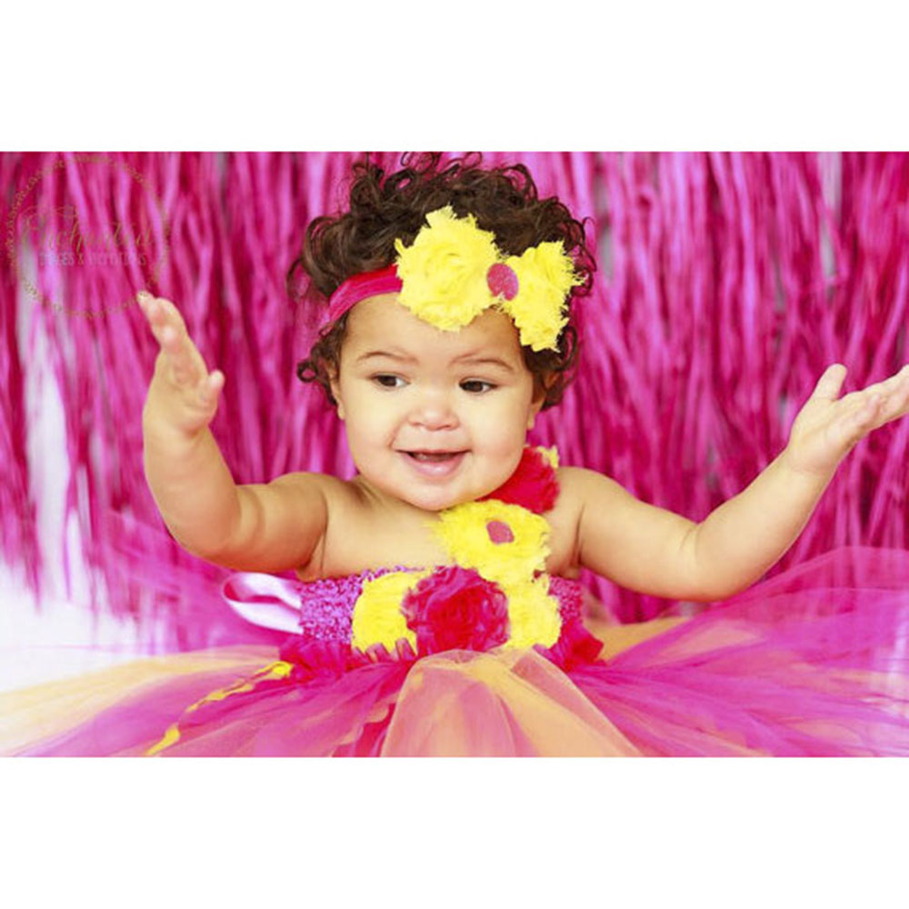 fbed33c7a Cute Princess Baby Girl Birthday Tutu Dress Hot Pink and Yellow ...