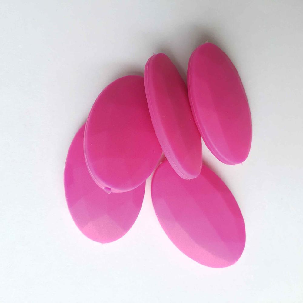 50 шт./лот плоские овальные свободные силиконовые Бусины для прорезывания зубов Цепочки и ожерелья силиконовые свободные Бусины для маленьких прорезыватель BPA бесплатно 19 цвет - Цвет: Fuchsia