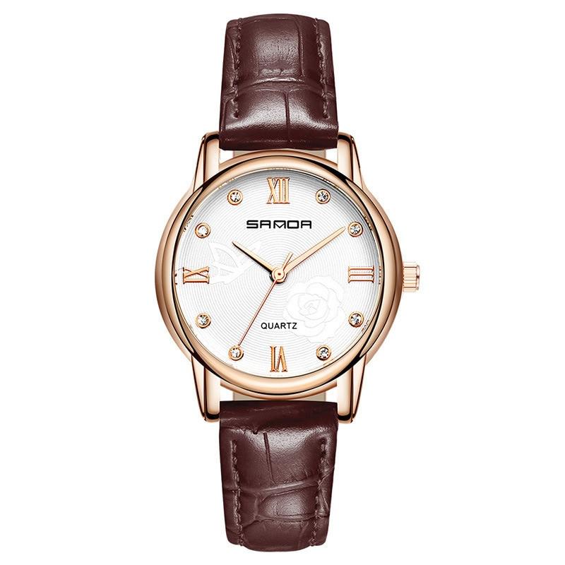Brown Pu Leather Women Wrist Watch Relogio Feminino Luxury Business Rosefield Watch Formal Wristwatches 2018 New Designer Saat