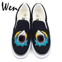 Wen Canvas Shoes Original Design Sea Animal Shark Skateboarding Sneakers White Black Slip On Flats