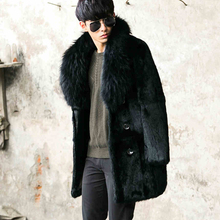 Men's Genuine Leather Clothing Winter 2016 Rabbit Fur Double-faced Fur Fashion Long Section Coat Turn-down Collar GSJ403