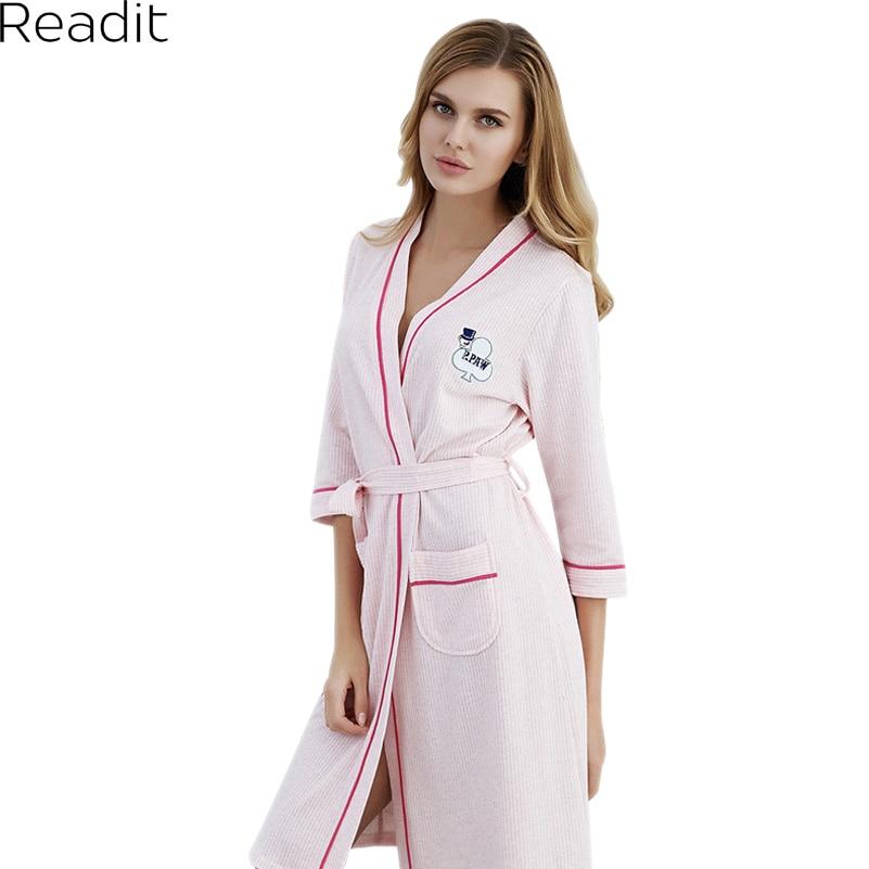Readit Robes 2018 Spring Lovers Sexy Bathrobe Women Deep-V Nightwear Robes Couples Cotton Sleep Lounge Bathrobe PA2763 ...