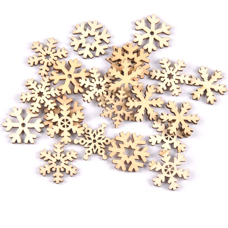 50pcs Mix Christmas Snowflake Pattern Natural Wooden Scrapbooking Carft For Home Decoration Diy Embellishment 24mm MT1873