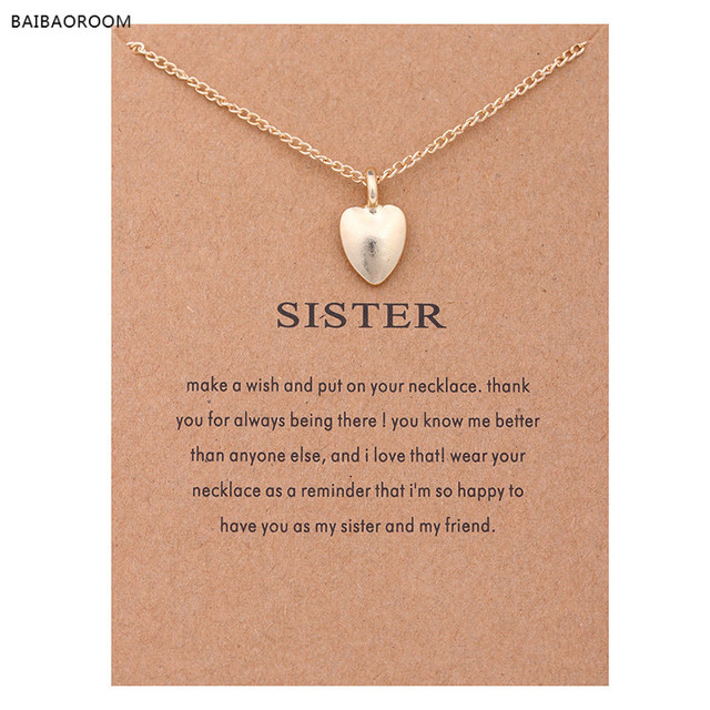 2017 Fashion Jewelry Wish New Gold-color Sister Love Heart-shaped Alloy Clavicle Short Necklace For Women Girl Gift
