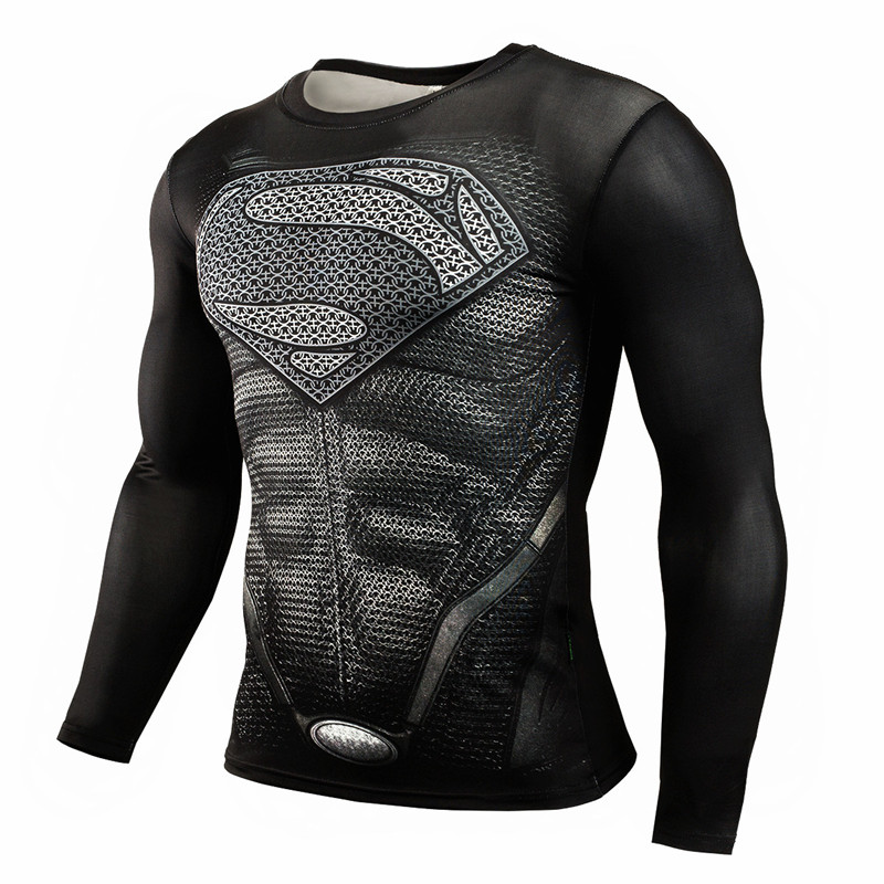 Fashion superhero anime t shirts punisher superman t shirt men fitness gyms compression shirt tights crossfit brand clothing-3