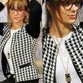Venda quente 2016 nova moda feminina primavera outono jaqueta de manga longa em torno do pescoço casaco curto Outwear C009