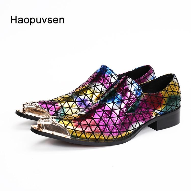 2019 Haopuvsen brand Nieuwe kleurrijke handgemaakte mannen loafers mannen mode lederen mannen trouwjurk schoenen mannen flats maat US11-in Formele Schoenen van Schoenen op  Groep 1