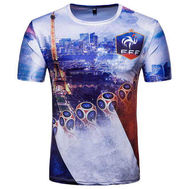 6274a422311 Casual Tee Shirt 2018 Russian World Cup Gallic Rooster French Football Team  Short Sleeve T-
