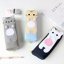 Kawaii Cute Animal Cat Pencil Case Student Kids Mini Canvas Pen Storge Box Bag School Stationery Gift Supplies(China)