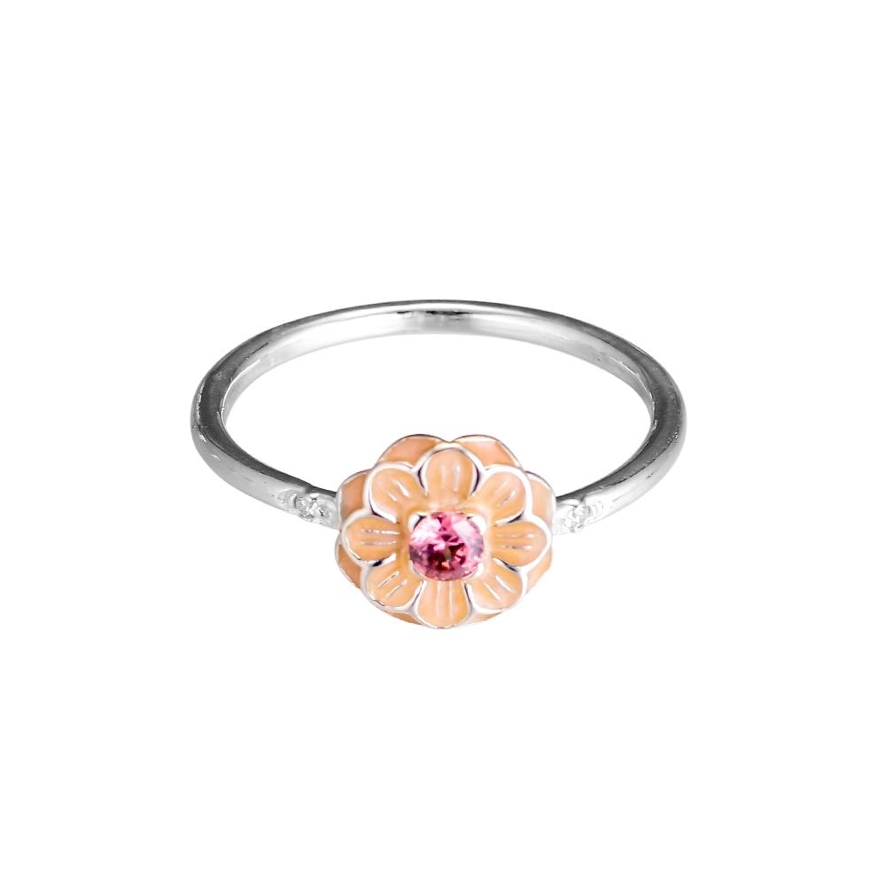 Kvetoucí prsteny Dahlia s krémovým smaltem 100% 925 mincovních - Šperky - Fotografie 4