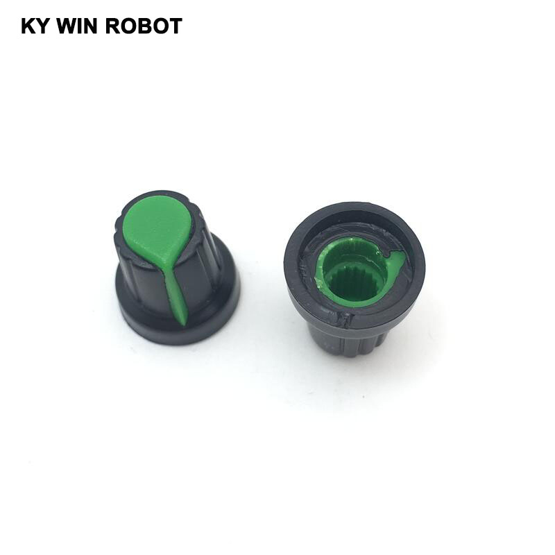 10-pcs-6mm-shaft-hole-dia-plastic-threaded-knurled-wh148-potentiometer-knobs-caps-15mm-17mm-green